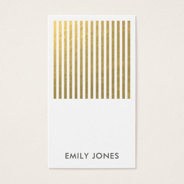 Professional Business BOLD MODERN GOLD FAUX STRIPED LINE PATTERN BUSINESS CARD