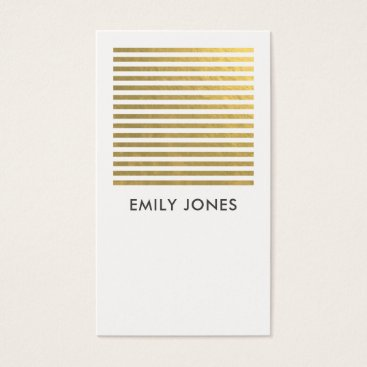 Professional Business BOLD MODERN GOLD FAUX WHITE STRIPED LINE PATTERN BUSINESS CARD