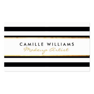 BOLD modern gold strip stripe pattern black white Double-Sided Standard Business Cards (Pack Of 100)