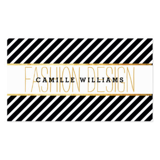 BOLD modern gold strip striped pattern black white Business Card Template