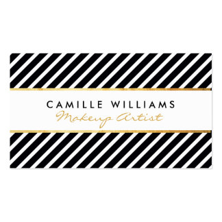 BOLD modern gold strip striped pattern black white Double-Sided Standard Business Cards (Pack Of 100)