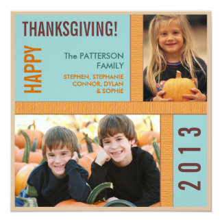 Bold Modern Graphic Thanksgiving Photo Card