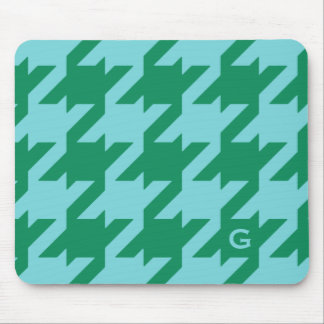 Bold modern green blue houndstooth with monogram mouse pad