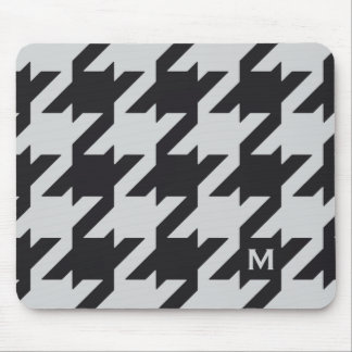 Bold modern grey black houndstooth with monogram mouse pad