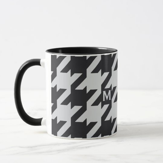 Bold modern grey black houndstooth with monogram mug