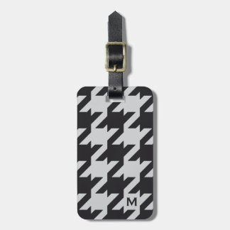 Bold modern grey black houndstooth with monogram tag for luggage