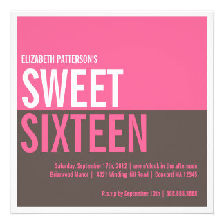 Bold Modern Hot Pink Brown Sweet 16 Invitation