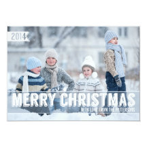Bold Modern Merry Christmas Big Photo Card Personalized Invite