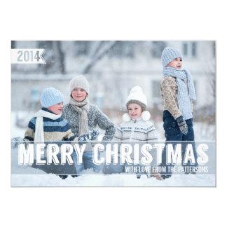 "Bold Modern Merry Christmas Big Photo Card 5"" X 7"" Invitation Card"