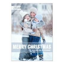 Bold Modern Merry Christmas Big Photo Card Invite