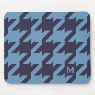 Bold modern navy blue houndstooth with monogram mouse pad