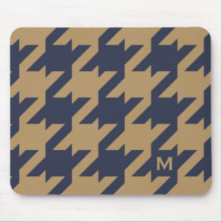 Bold modern navy brown houndstooth with monogram mouse pad