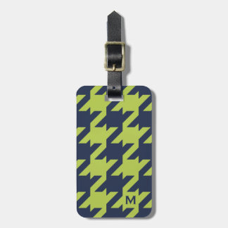 Bold modern navy green houndstooth with monogram luggage tags