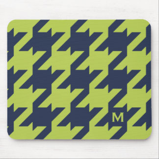 Bold modern navy green houndstooth with monogram mouse pad