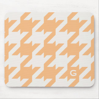 Bold modern orange houndstooth with monogram mouse pad