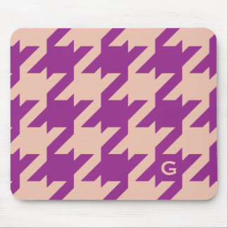 Bold modern purple houndstooth with monogram mouse pad