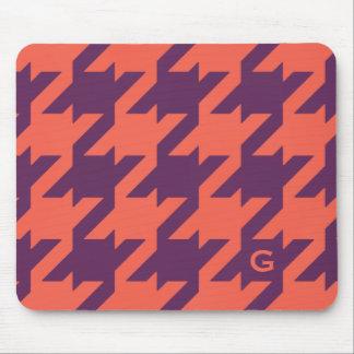 Bold modern purple orange houndstooth monogram mouse pad