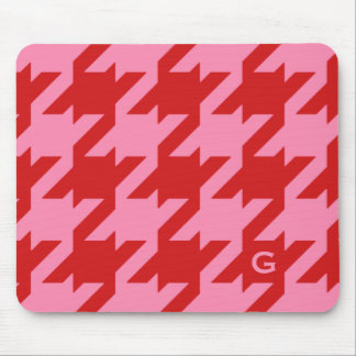 Bold modern red and pink houndstooth monogram mouse pad