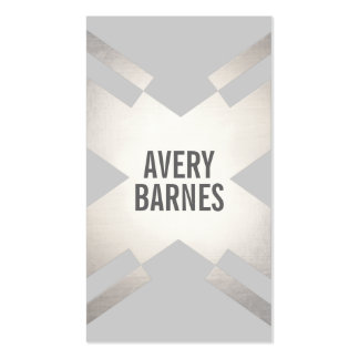 Bold Modern Silver and Light Gray Geometric Design Business Card