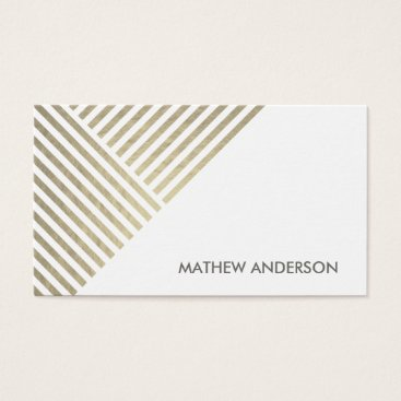 Professional Business BOLD MODERN SILVER FAUX ANGLE STRIPED LINE PATTERN BUSINESS CARD