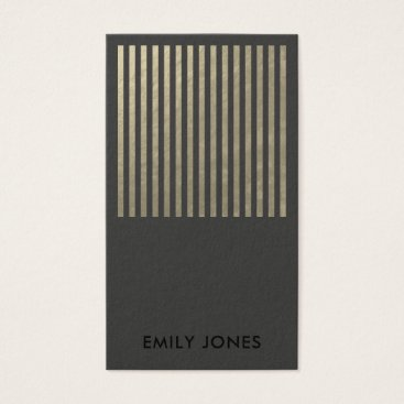 Professional Business BOLD MODERN SILVER FAUX BLACK STRIPED LINE PATTERN BUSINESS CARD