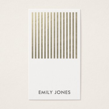 Professional Business BOLD MODERN SILVER FAUX STRIPED LINE PATTERN BUSINESS CARD