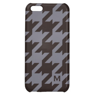Bold modern steel grey houndstooth monogram cover for iPhone 5C