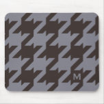 Bold modern steel grey houndstooth monogram mouse pad