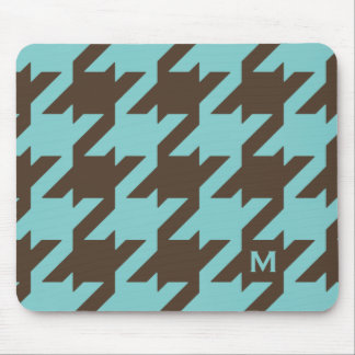 Bold modern teal brown houndstooth with monogram mouse pad