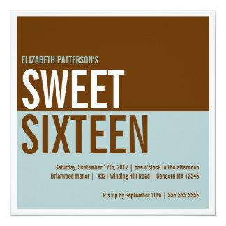 Bold Modern Teal & Brown Sweet Sixteen Invitation