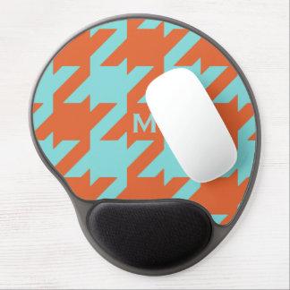 Bold modern teal orange houndstooth monogram gel mouse pad
