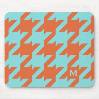 Bold modern teal orange houndstooth monogram mouse pad