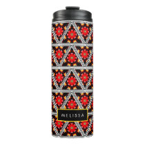 Bold Modern Triangle Geometric Floral Pattern Thermal Tumbler