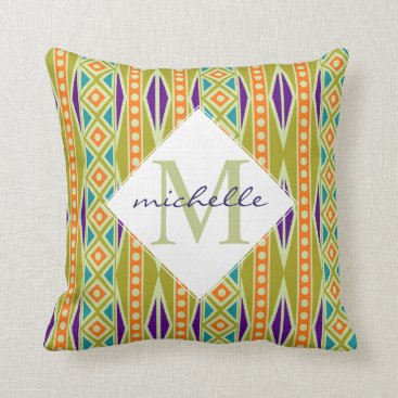 Aztec Themed Bold Modern Tribal Aztec Geo Monogram Throw Pillow