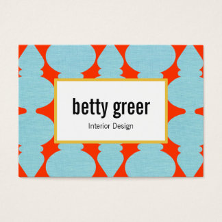 Bold Modern Turquoise Pattern Interior Designer Business Card