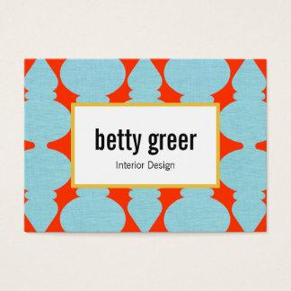Bold Modern Turquoise Pattern Interior Designer Large Business Card