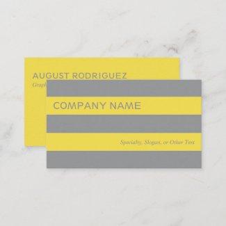 Bold Modern Yellow Gray Stripes Business Card