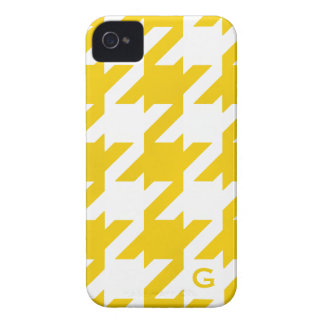 Bold modern yellow houndstooth with monogram Case-Mate iPhone 4 cases