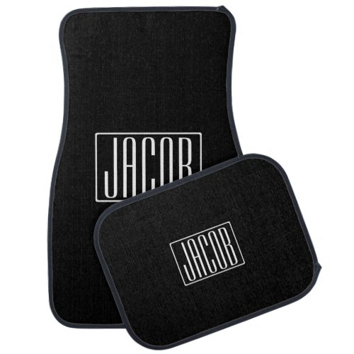 Bold  Modern Your Name or Word  White On Black Car Floor Mat