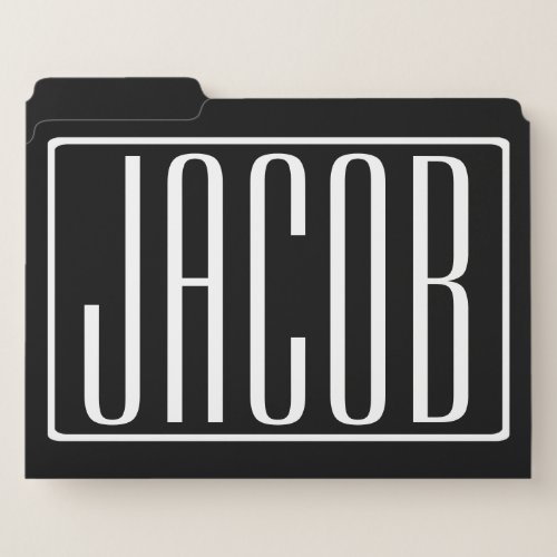 Bold  Modern Your Name or Word  White On Black File Folder