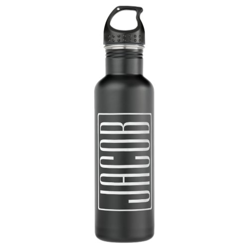 Bold & Modern Your Name or Word | White On Black Stainless Steel Water Bottle