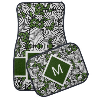 Bold Monogram and Green with White Tropical Print Car Floor Mat
