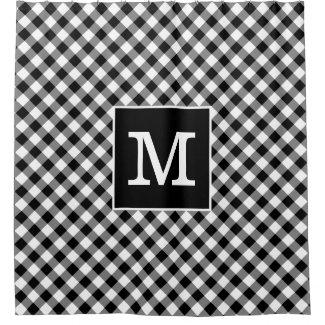 Bold Monogram Black and White Gingham Pattern Shower Curtain