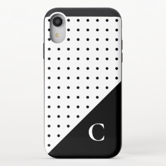 Bold Monogram Black on White Polka Dot Pattern iPhone XR Slider Case