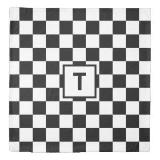 Bold Monogram Black White Checkered Pattern Duvet Cover