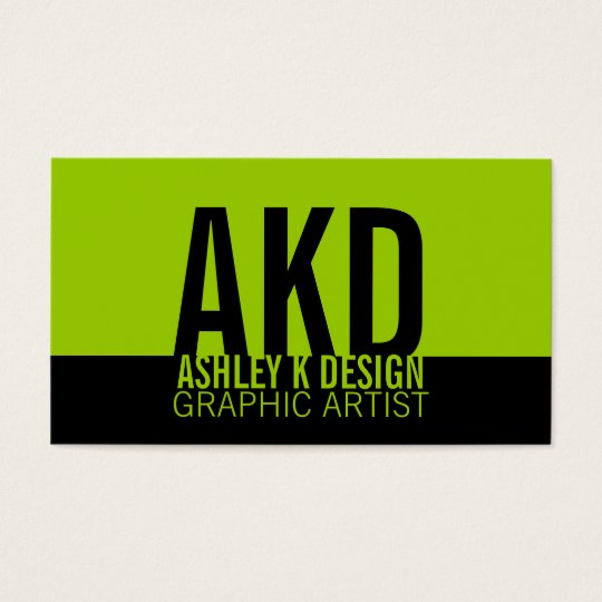 Bold Monogram Business Cards Black Green