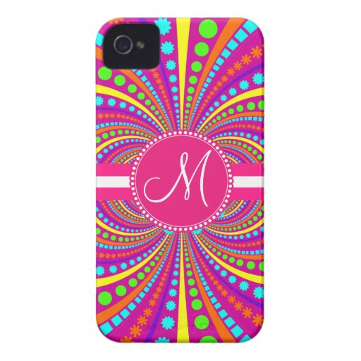 Bold Monogram Funky Pattern Hot Pink Design Blackberry Bold Covers