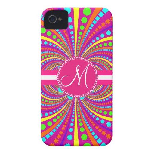 Bold Monogram Funky Pattern Hot Pink Design iPhone 4 Case-Mate Case