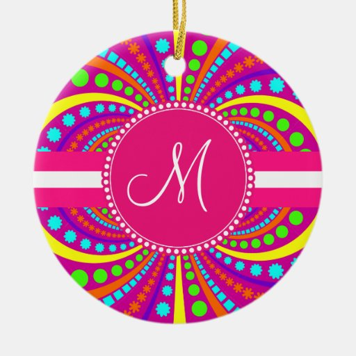 Bold Monogram Funky Pattern Hot Pink Design Ceramic