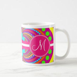 Bold Monogram Funky Pattern Hot Pink Design Coffee Mug